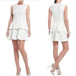 BCBGMaxazria off white drape sided peplum dress